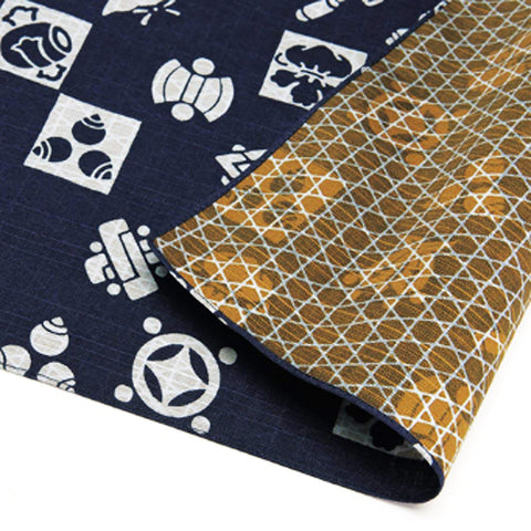Fukumusubi -  Double-Sided Dyeing 105 x 105 cm - Takarazukushi  Navy/Brown - Furoshiki (Japanese Wrapping Cloth)