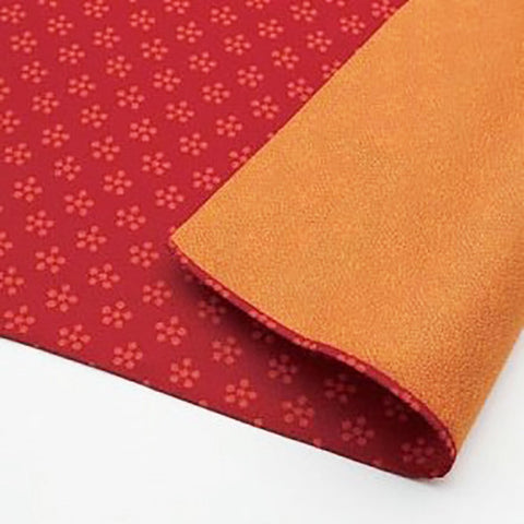 Rikyu Ume (Plum) -Double-Sided Dyeing Furoshiki - Red / Orange - 70 x 70 cm