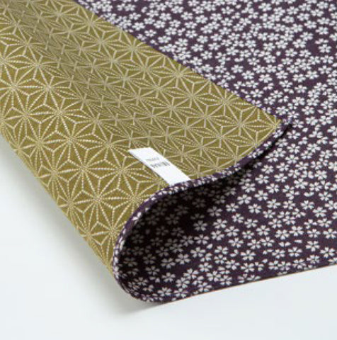 Komon - Double-Sided Dyeing - Kozakura x Asanoha (Purple x Rikyu) - Furoshiki (Japanese Wrapping Cloth)