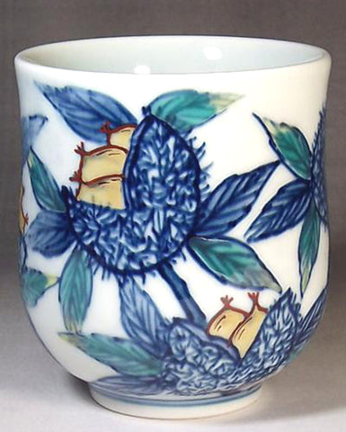 Fujii Kinsai Arita Japan - Somenishiki Japanese Chestnut Japanese Tea Cup  (Yunomi) - Free shipping