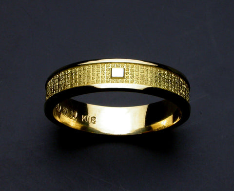 Saito - Heart Sutra Extra Slim Gold Ring (18Kt Gold)  - Free Shipping