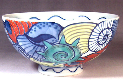 Fujii Kinsai Arita Japan - Somenishiki Kaizukuchi Rice Bowl - Free shipping