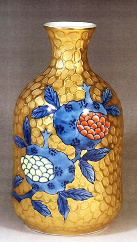 Fujii Kinsai Arita Japan - Somenishiki Golden Zakuro Sake bottle (Tokkuri) - Free Shipping