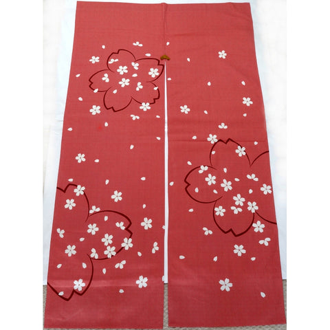 Kyoto Noren (Doorway curtain) 85 cm X 150 cm  - The scattered Sakura - Free Shipping