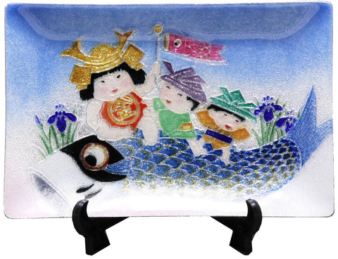 Saikosha - #008-21  Carp with children (Cloisonné ware ornamental plate) - Free Shipping