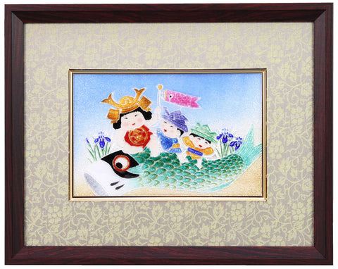 Saikosha - #008-16  Carp with children (Framed Cloisonné ware) - Free Shipping