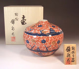 Fujii Kinsai Arita Japan - Somenishiki  Kinsai Full of Sakura and Multi stored building Vase 14.50 cm - Free Shipping
