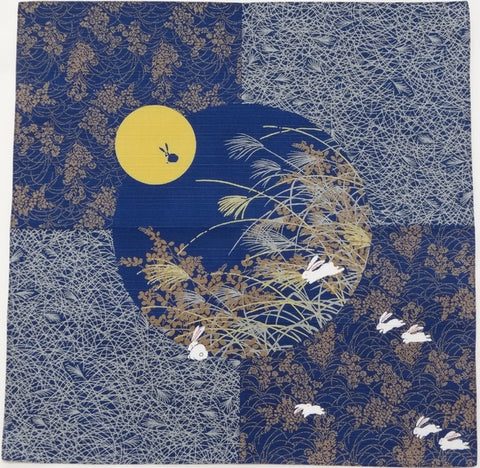 Yu-Soku - Tsukimi Usagi (Viewing the moon Rabbit) (Navy) - Furoshiki 50 x 50 cm