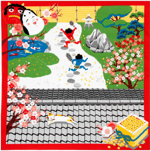 Mikeneko Mike - February Furoshiki (Japanese Wrapping Cloth)