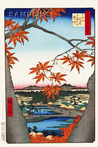 Utagawa Hiroshige - No.094 The Maple Trees at Mama, the Tekona Shrine and Tsugihashi Bridge - One hundred Famous View of Edo - Free shipping