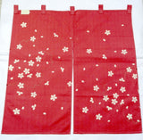 Kyoto Noren (Doorway curtain) 85 cm X 90 cm - The scattered Sakura - Free Shipping