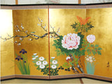 Japanese Traditional Hand Paint Byobu (Gold Leaf Folding Screen) - T 19 - Free Shipping