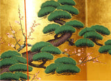 Japanese Traditional Hand Paint Byobu (Gold Leaf Folding Screen) - T 26 - Free Shipping