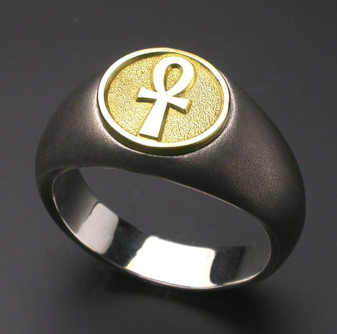 Saito - Egyptian motif  ANKH LOOP CROSS - Strength and Health  18Kt emblem Amulet Silver Ring - Free Shipping