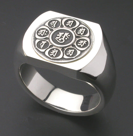 Saito - Mandala on Lotus flower Crest Emblem (Silver 950) on Seal Stand Silver Ring - Free Shipping
