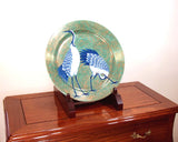 Fujii Kinsai Arita Japan - Somenishiki  Kinsai Couple Crane Ornamental plate 39.50 cm - Free Shipping
