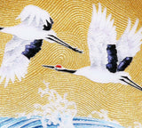 Saikosha - #005-10 Soukaku (Pair of crane) & wave splash (Cloisonné ware ornamental plate) 24.00 cm - Free Shipping