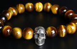 Saito - Skull (Silver 925) w/Bonji with Tiger Eye Rosary - Free shipping