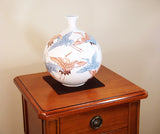 Fujii Kinsai Arita Japan - Somenishiki Crane in Snow Vase 21.20 cm - Free Shipping