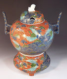 Fujii Kinsai Arita Japan - Somenishiki Kinsai Crane & Pine Incense burner 32.50 cm - Free Shipping