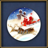Saikosha - #023-03 Santa and reindeer (Framed Cloisonné ware) - Free Shipping