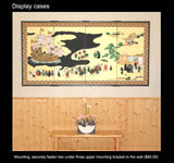 Matsuda Tomikazu - Japanese Traditional Hand Paint Byobu (Gold Silk Folding Screen) - X146 - Free Shipping