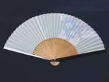 Traditional handcrafted Kyoto Ladies' Sensu - #222 Ajisai (Hydrangea) - Light Blue