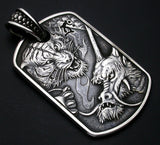 Saito - Rise Dragon-L & Tiger Silver 950 Pendant Top - Free shipping