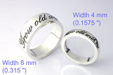 "Saito - Message Ring (With your own message)    4 mm (0.1575 "") width (Silver 925 )    Free shipping"