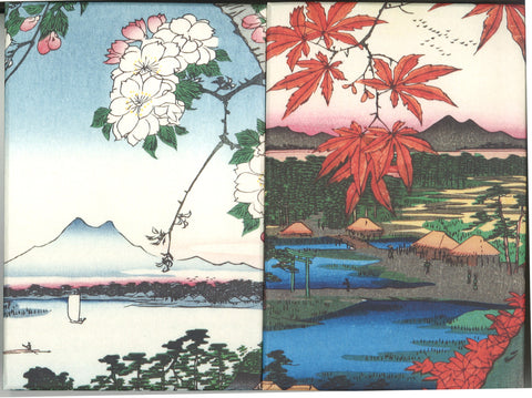 Utagawa Hiroshige  - No.035 Suijin Shrine and Massaki on the Sumida River & No.094 The Maple Trees at Mama, the Tekona Shrine and Tsugihashi Bridge  - Ukiyoe Shuin cho