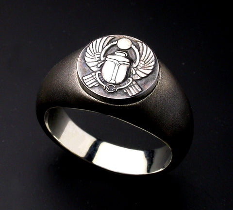 Saito - Egyptian motif  KHWPRI - Scarab - God of rebirth & the sunrise Amulet Silver Ring - Free Shipping