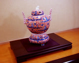 Fujii Kinsai Arita Japan - Somenishiki Kinsai  Full of Sakura and Multi stored building Incense burner 32.50 cm - Free Shipping
