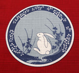 Maruwa - Rabbit picture-painted plate (Vermilion) 50 x 50 cm - Furoshiki (Japanese Wrapping Cloth)