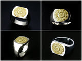 Saito - Mandala on Lotus flower 18Kt Gold emblem Seal Stand Silver Ring  - Free Shipping