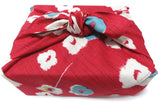 Modern Girl - Ume (Plum) Red - Furoshiki with two rings  70 x 70 cm