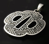 Saito - Japanese Sword Guard (Tsuba) Shape Silver 950 Pendant Top - Free Shipping