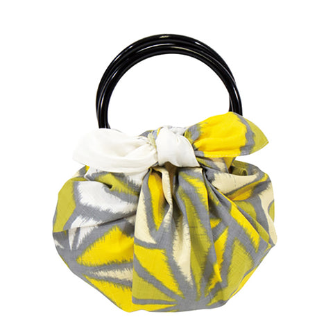 Modern Girl -  Asanoha Yellow - Furoshiki with two rings  70 x 70 cm