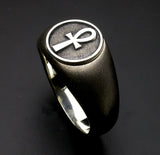 Saito - Egyptian motif  ANKH LOOP CROSS - Strength and Health Amulet Silver Ring - Free Shipping