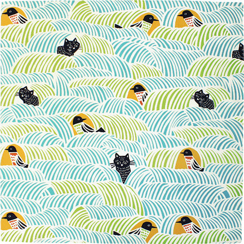 Kata Kata - Neko to Tori (Cats and birds) Green - Furoshiki   70 x 70 cm