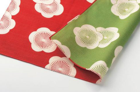 Isamonyou -  Double-Sided Dyeing Plum R&G - Furoshiki (Japanese Wrapping Cloth)