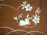 Kyoto Noren (Doorway curtain) 85 cm X 150 cm  - Rabbit & Flower  (Beige) - Free Shipping