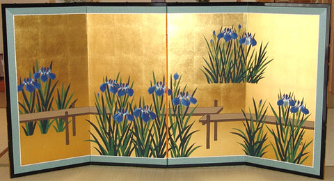Tominaga Jyuho - Japanese Traditional Hand Paint Byobu (Gold Leaf Folding Screen) - X103 - Free Shipping