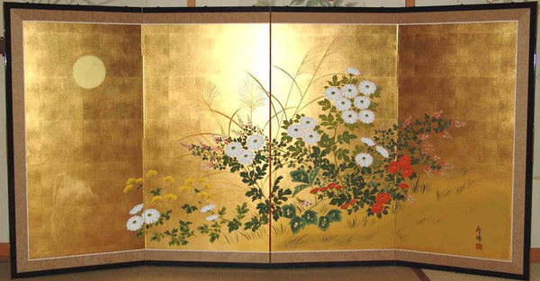 Tominaga Jyuho Japanese Traditional Hand Paint Byobu