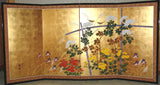 Tominaga Jyuho - Japanese Traditional Hand Paint Byobu (Gold Leaf Folding Screen) - X108 - Free Shipping