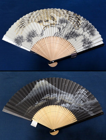 Traditional handcrafted Kyoto Sensu - #1560 Japanese Hawk & Mount Fuji