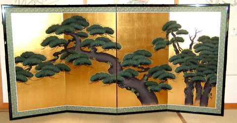 Japanese Traditional Hand Paint Byobu (Gold Leaf Folding Screen) - T 23 - Free Shipping