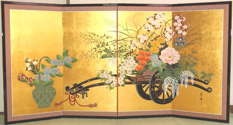 Tominaga Jyuho - Japanese Traditional Hand Paint Byobu (Gold Leaf Folding Screen) - X102 - Free Shipping