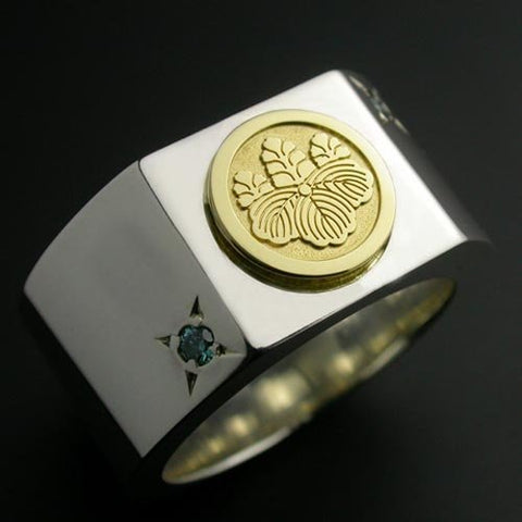Saito - 18Kt Gold Family Crest with two diamonds Silver Ring (Silver 925) - Free Shipping