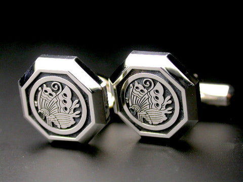 Saito - Family Crest Type - A Octagon shape Silver Cuffs (Silver 950) (One pair) - Free Shipping