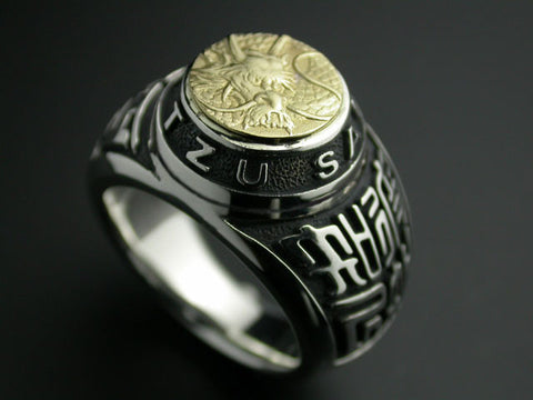 Saito - Dragon Crest Emblem(18Kt Gold) with Sun Tzu Silver Ring - Free Shipping